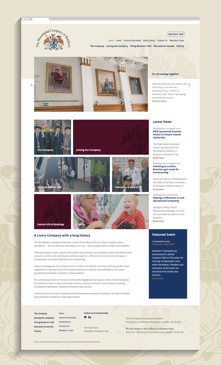 The Worshipful Company of Butchers website - mobile