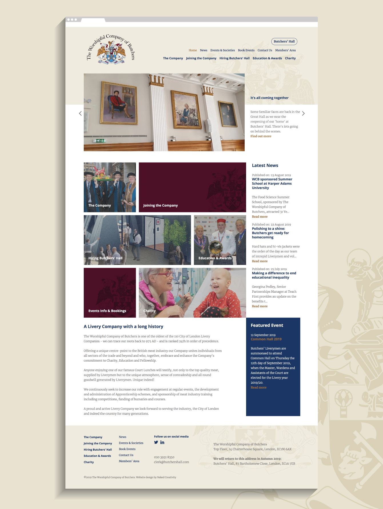The Worshipful Company of Butchers website - desktop