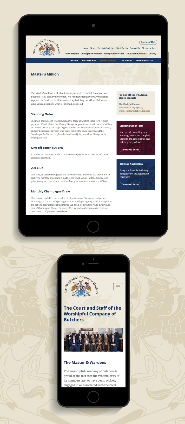 The Worshipful Company of Butchers website on an iPad and iPhone - mobile