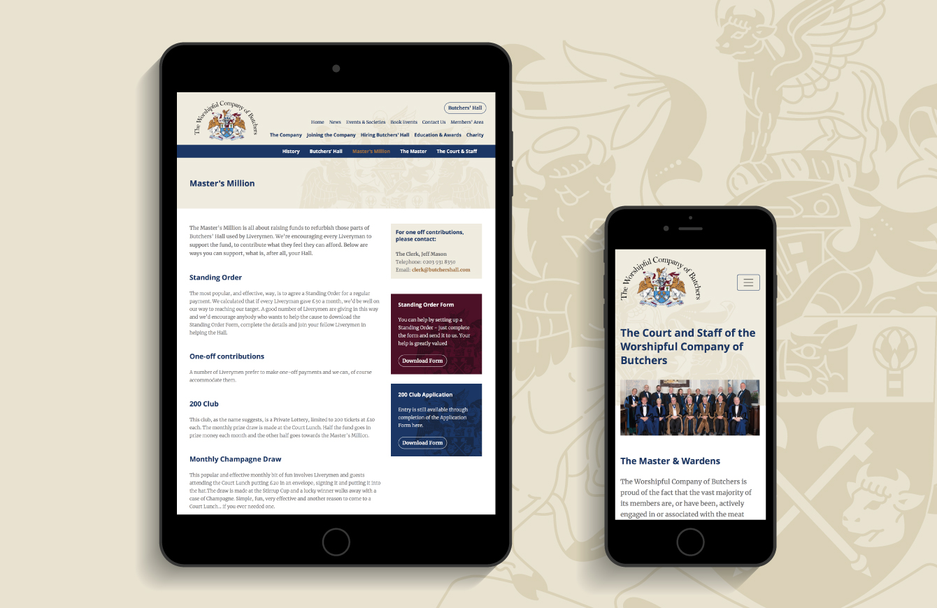 The Worshipful Company of Butchers website on an iPad and iPhone - desktop