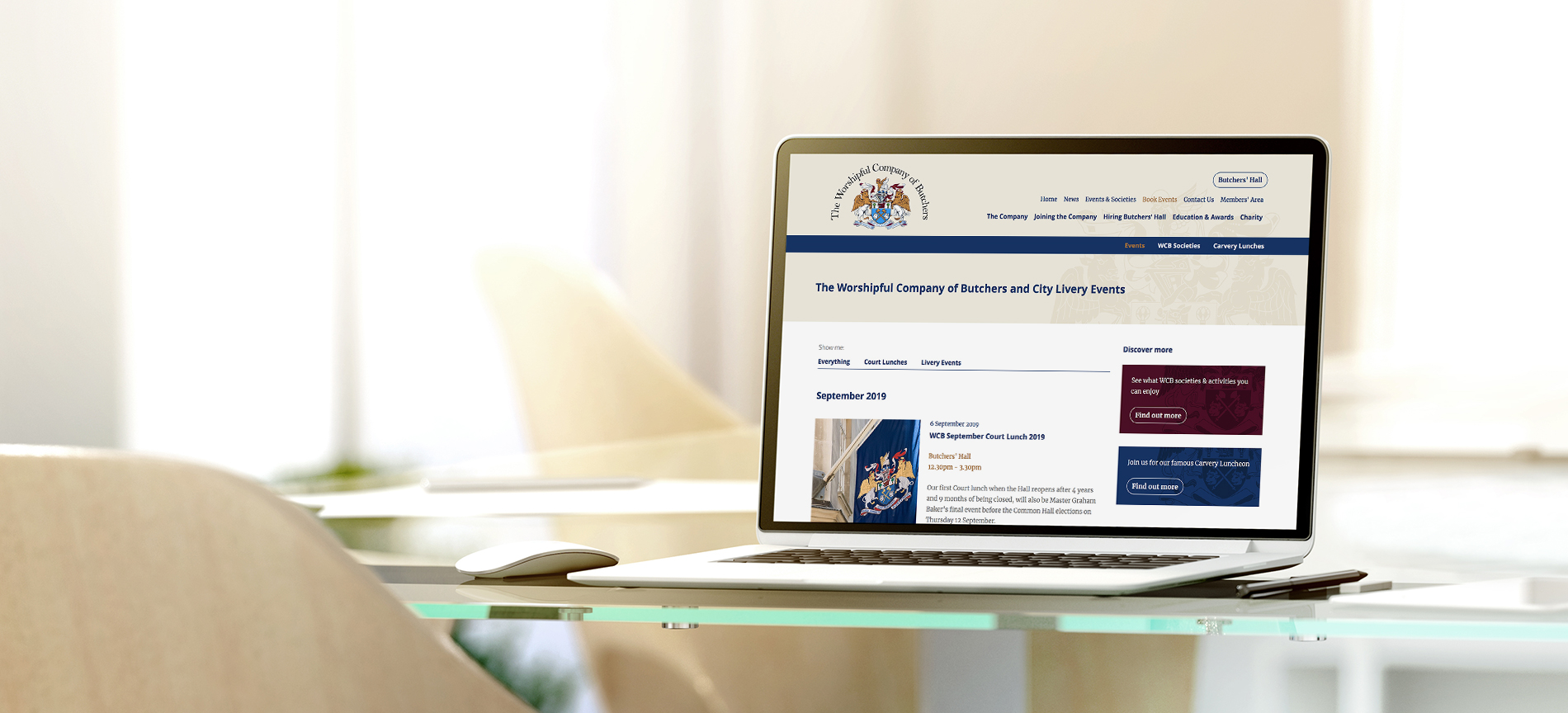 The Worshipful Company of Butchers website on a laptop - desktop
