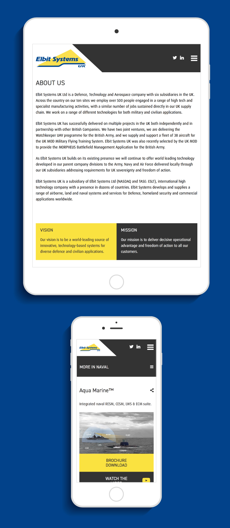 The Elbit Systems UK website on an iPad and iPhone - mobile