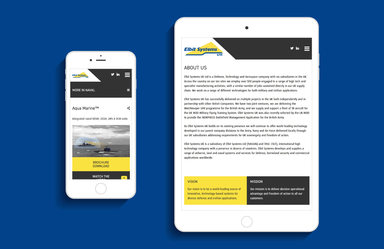 The Elbit Systems UK website on an iPad and iPhone - desktop