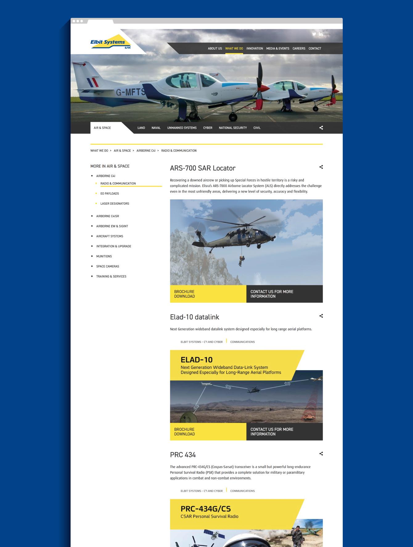 The Elbit Systems UK website - desktop