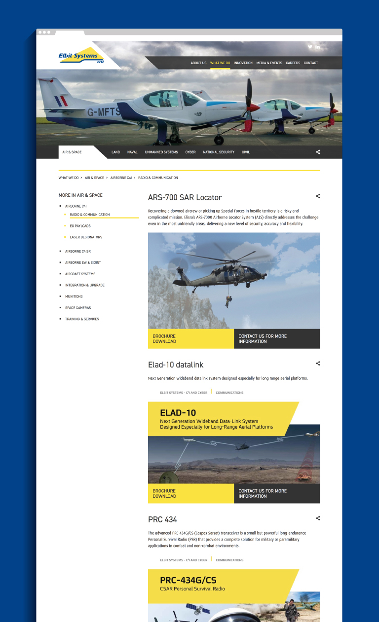 The Elbit Systems UK website - mobile