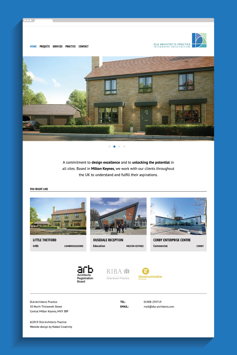 DLA Architects website homepage - mobile