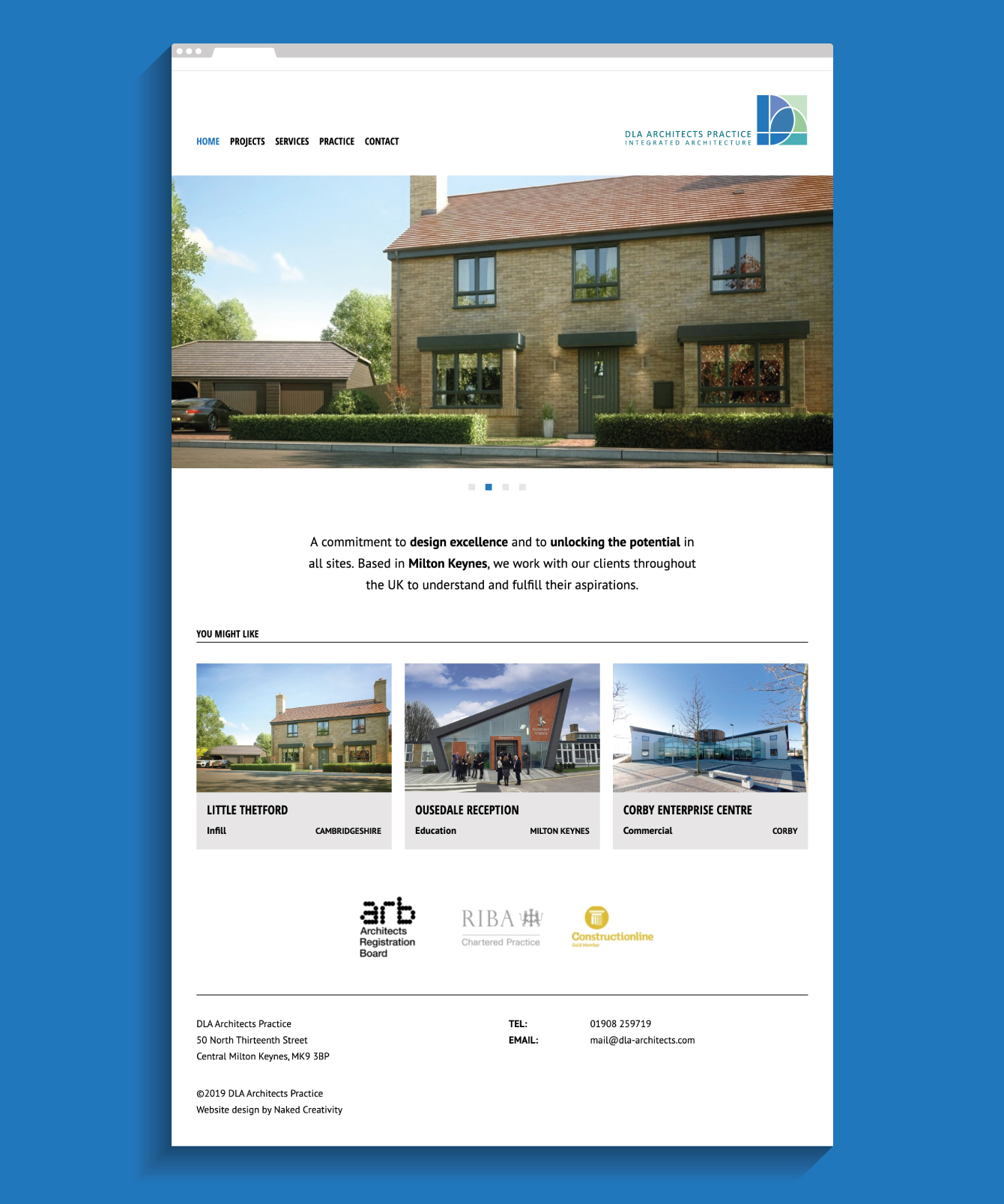 DLA Architects website homepage - desktop