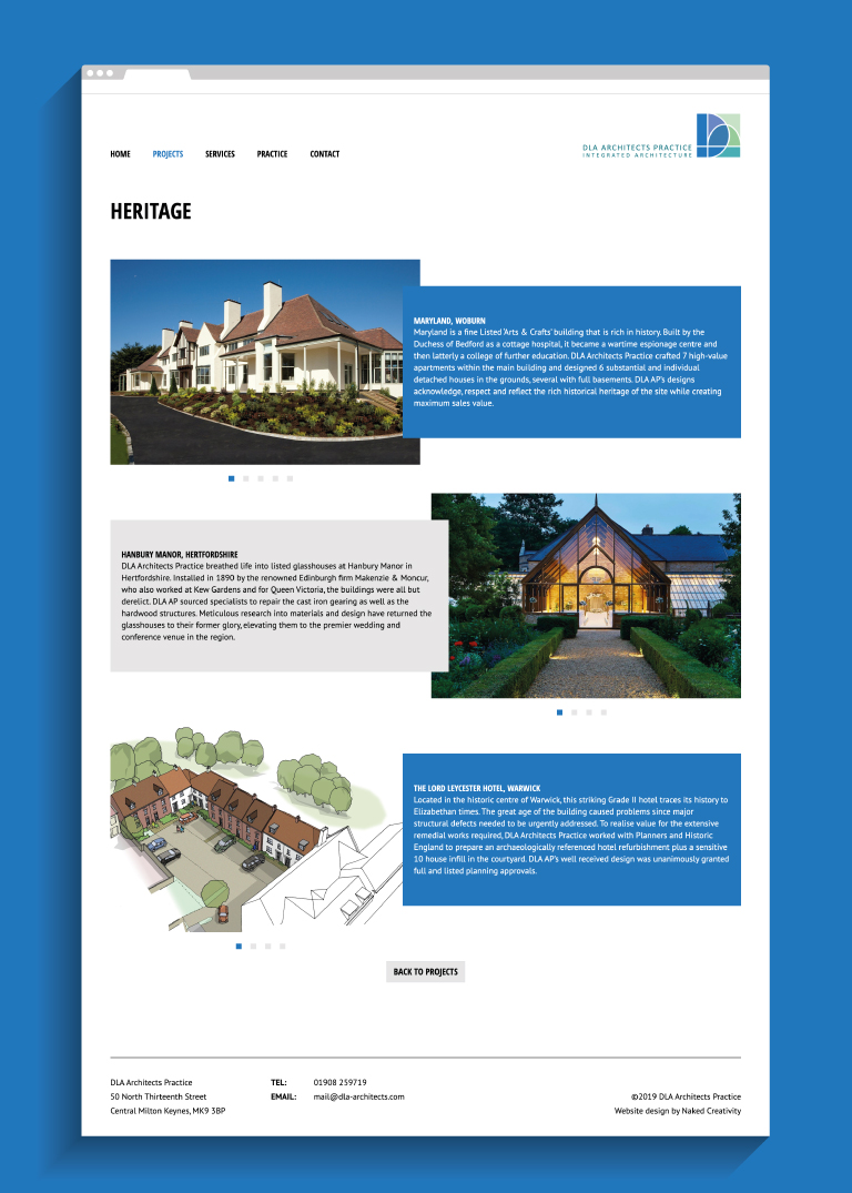 DLA Architects Practice Heritage website page - mobile