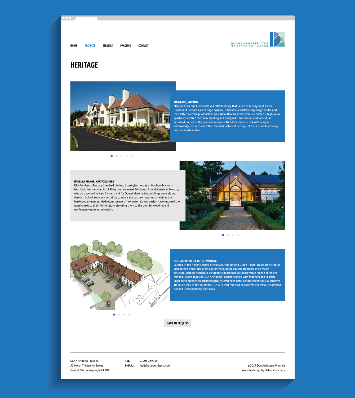DLA Architects Practice Heritage website page - desktop