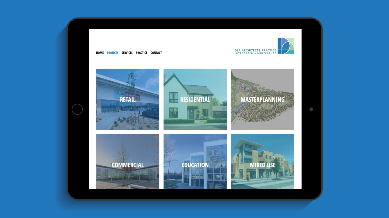 DLA Architects Practice Projects webpage on an iPad - desktop