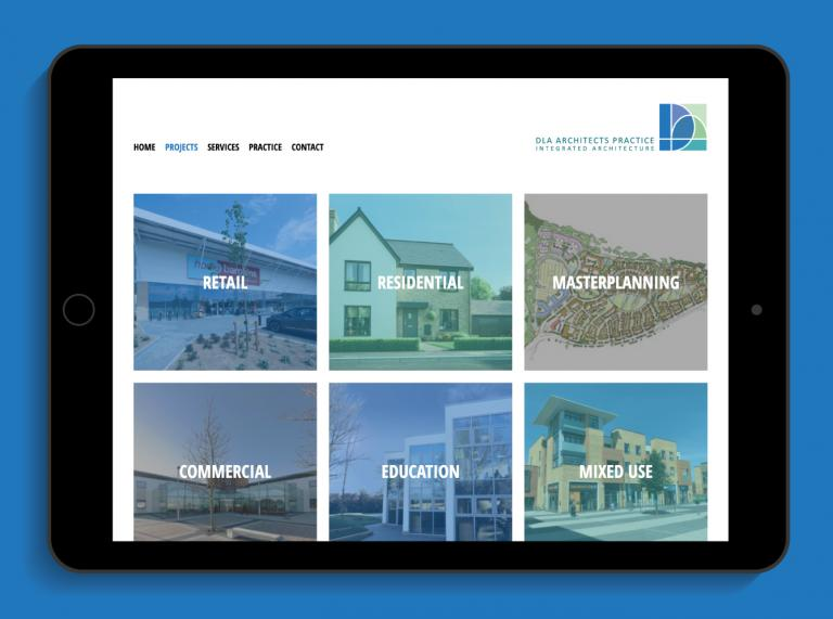 DLA Architects Practice Projects webpage on an iPad - mobile