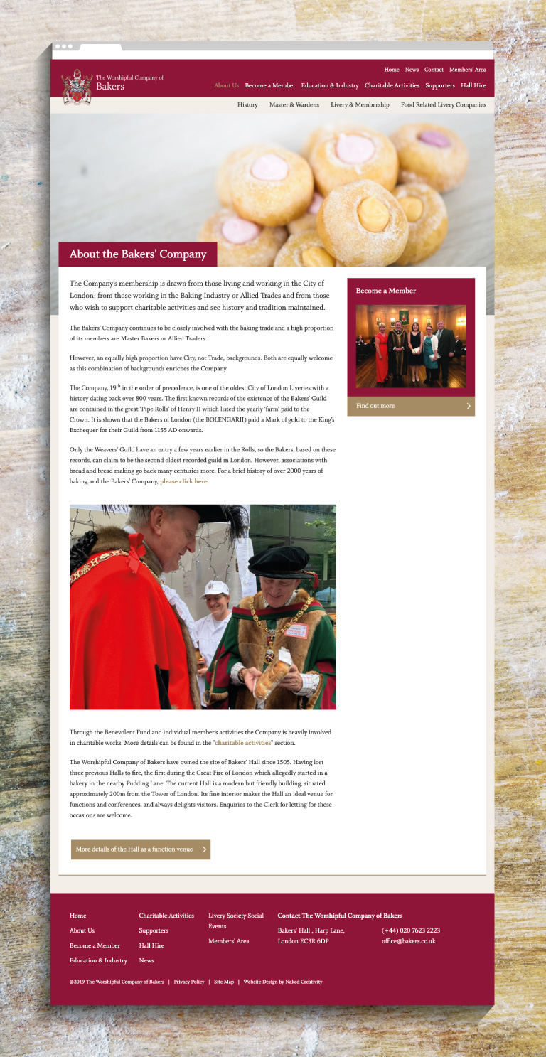 The Worshipful Company of Bakers' about webpage - mobile