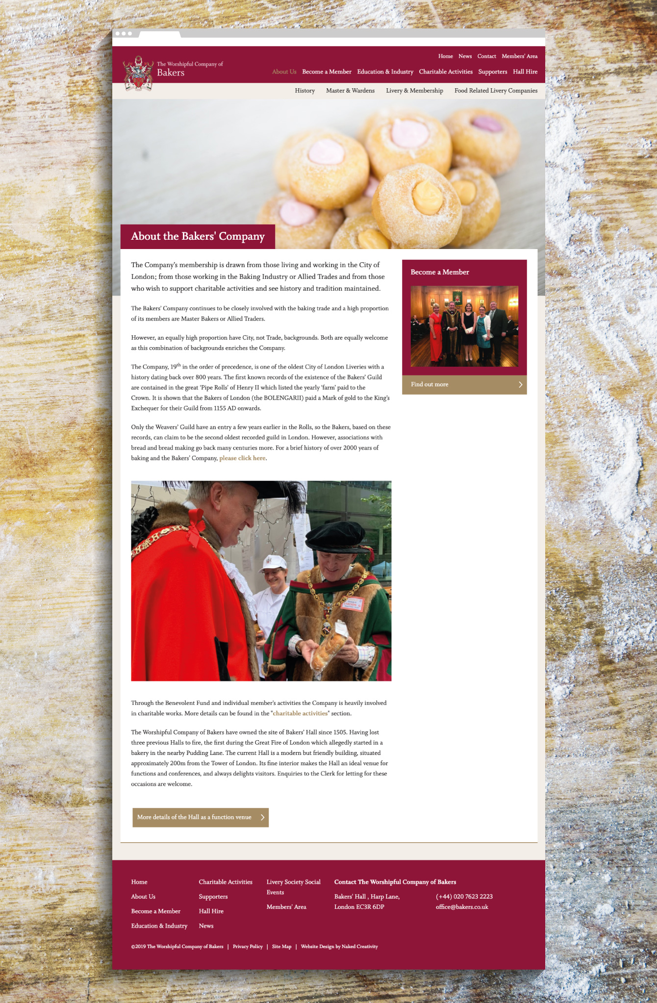 The Worshipful Company of Bakers' about webpage - desktop
