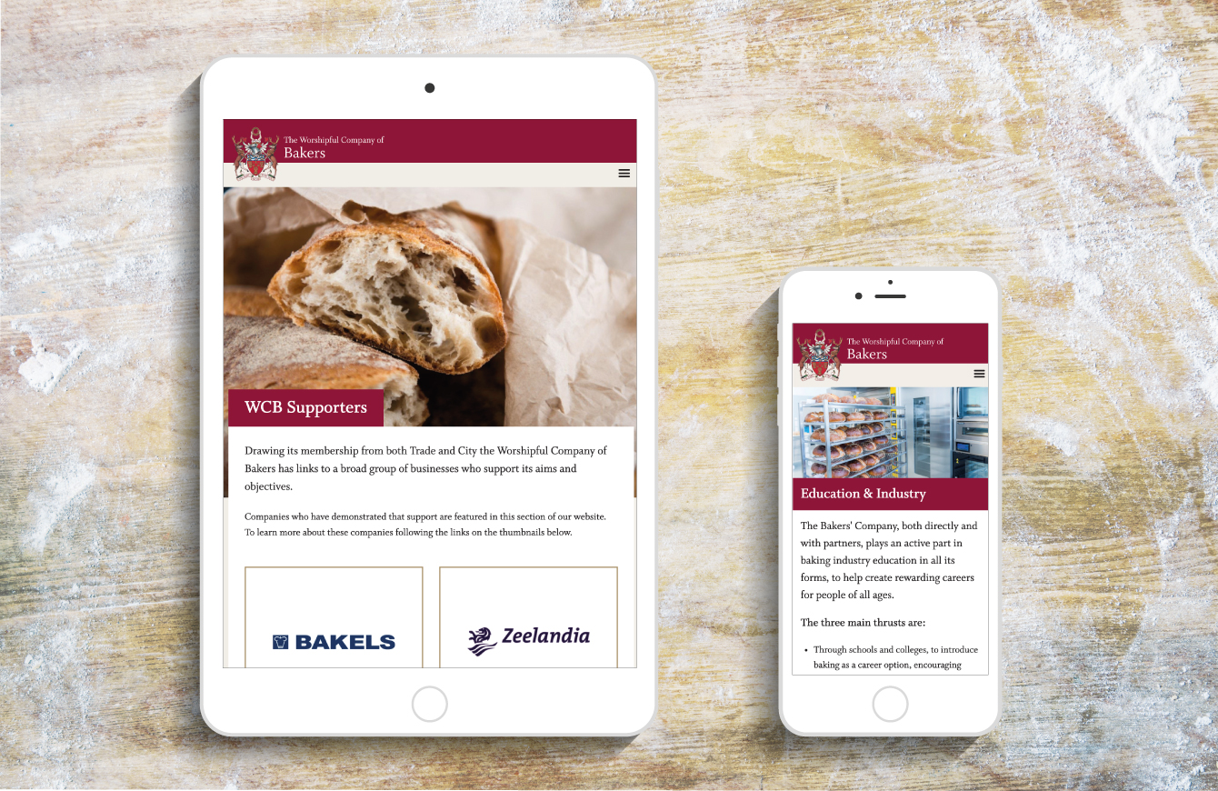 The Worshipful Company of Bakers' Supporters and Education & Industry webpages on an iPad and an iPhone - desktop