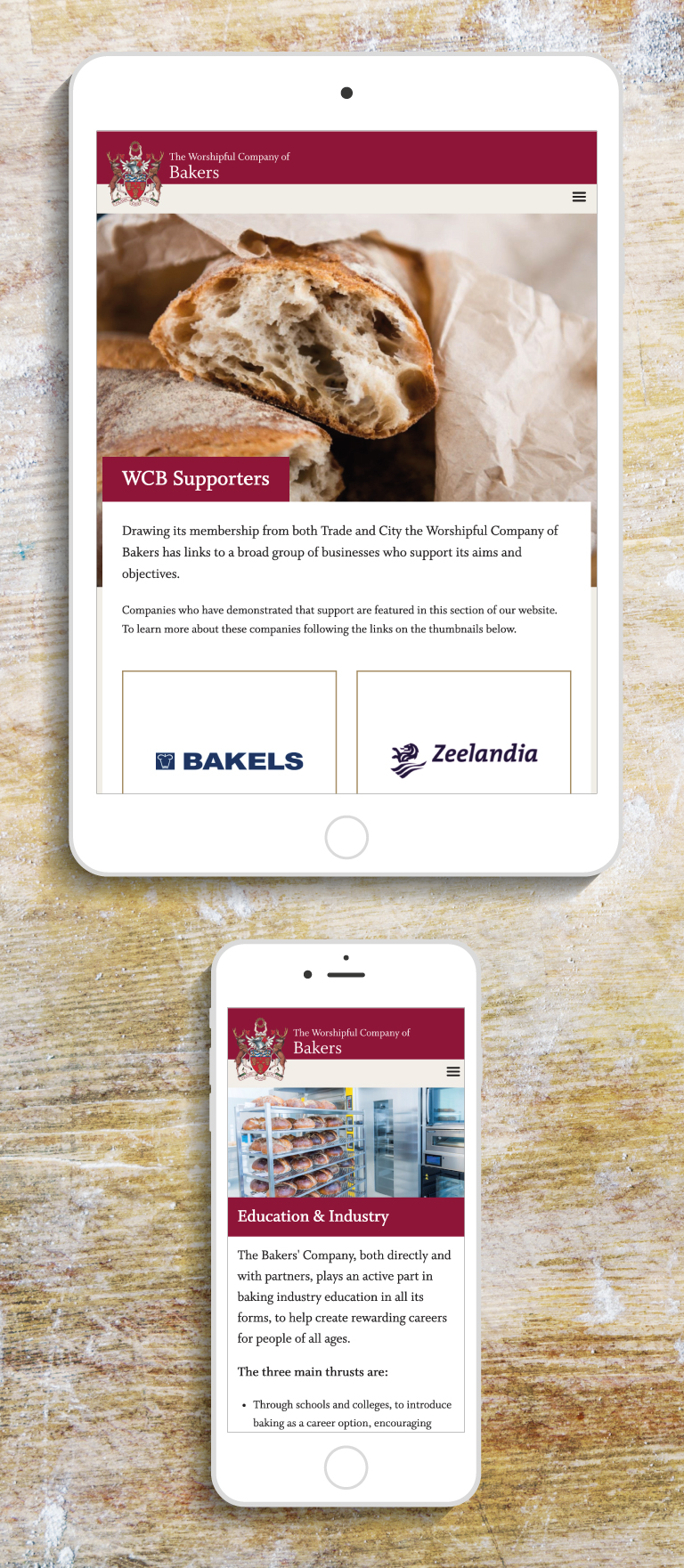 The Worshipful Company of Bakers' Supporters and Education & Industry webpages on an iPad and an iPhone - mobile