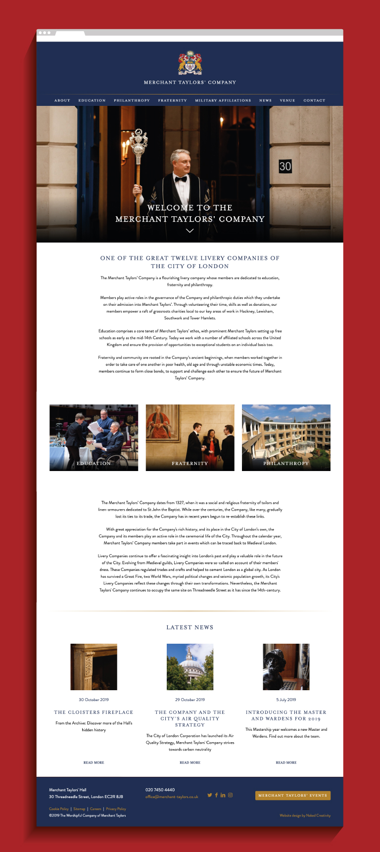 Merchant Taylors' Company website homepage - mobile
