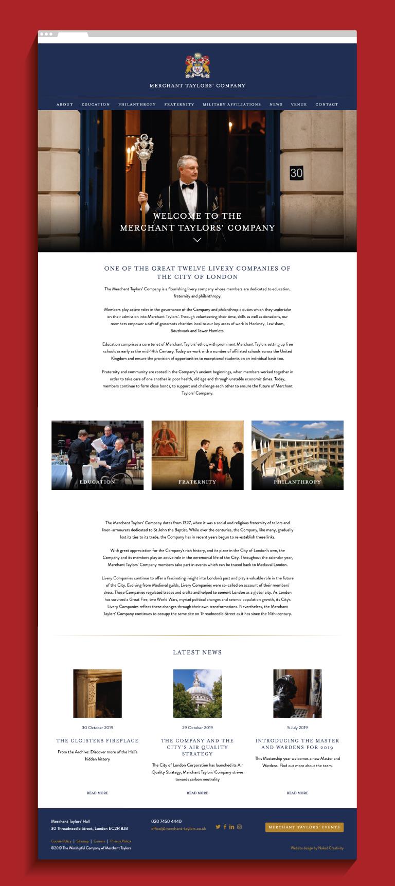 Merchant Taylors' Company website homepage - mobile
