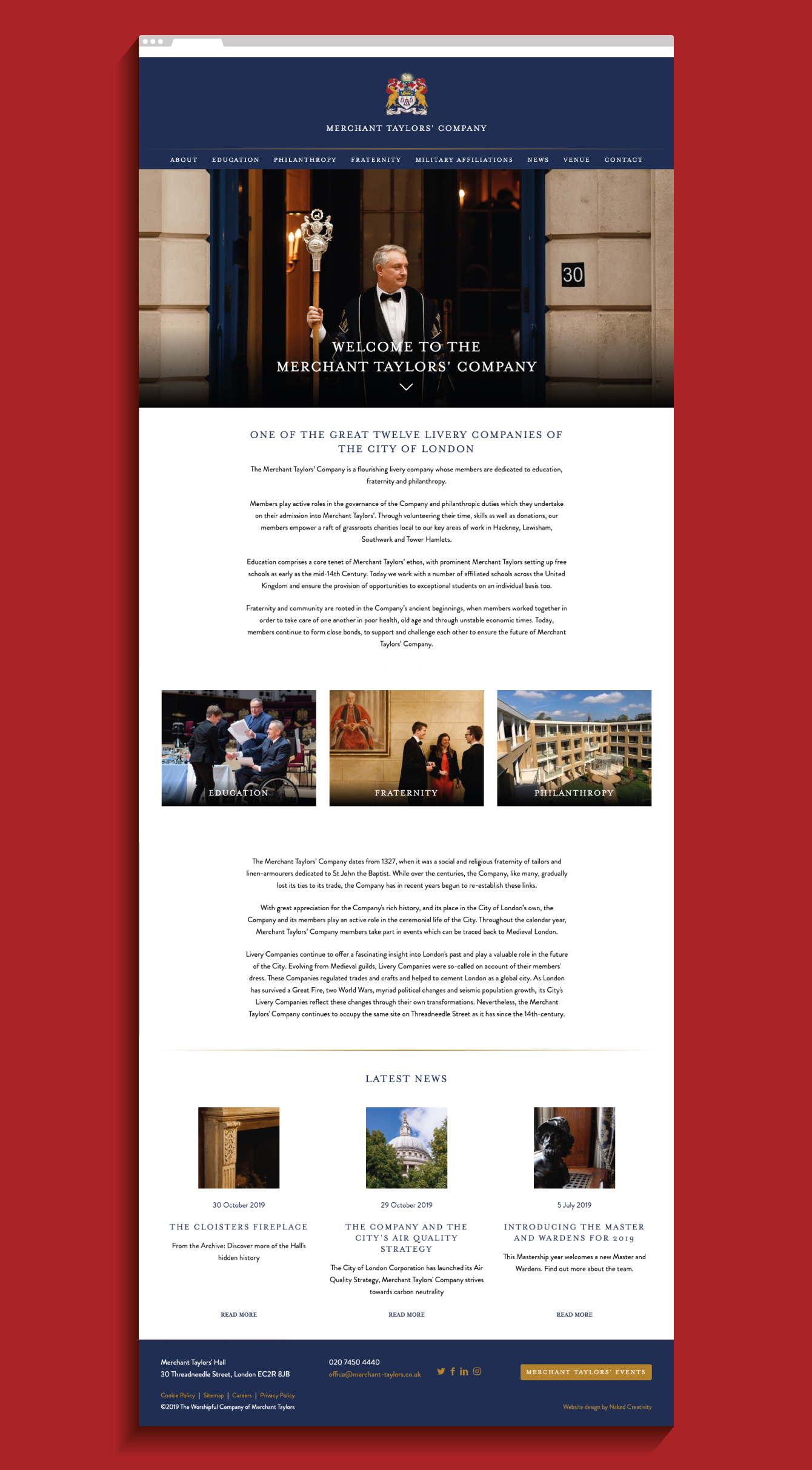Merchant Taylors' Company website homepage - desktop
