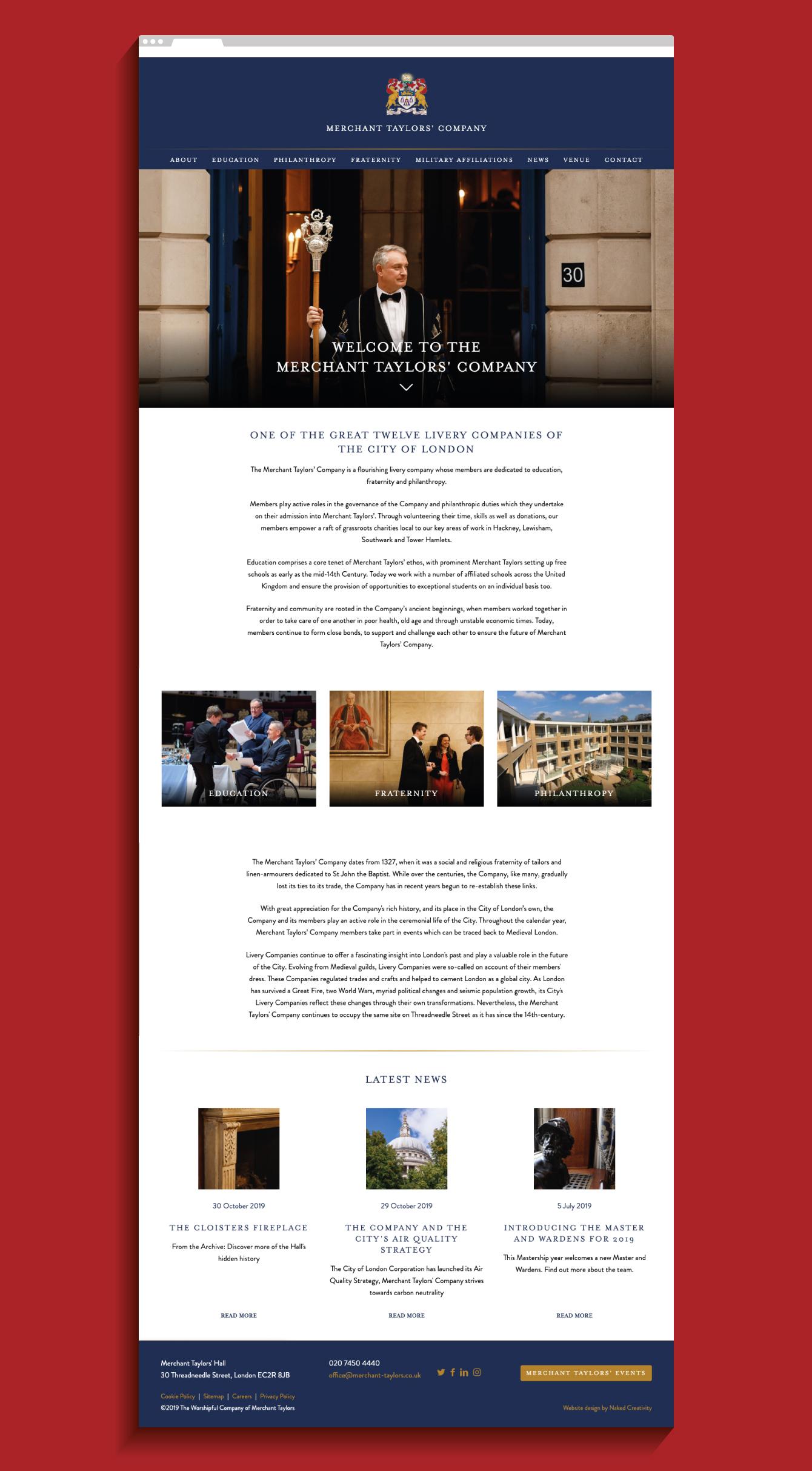 Merchant Taylors' Company website homepage - desktop