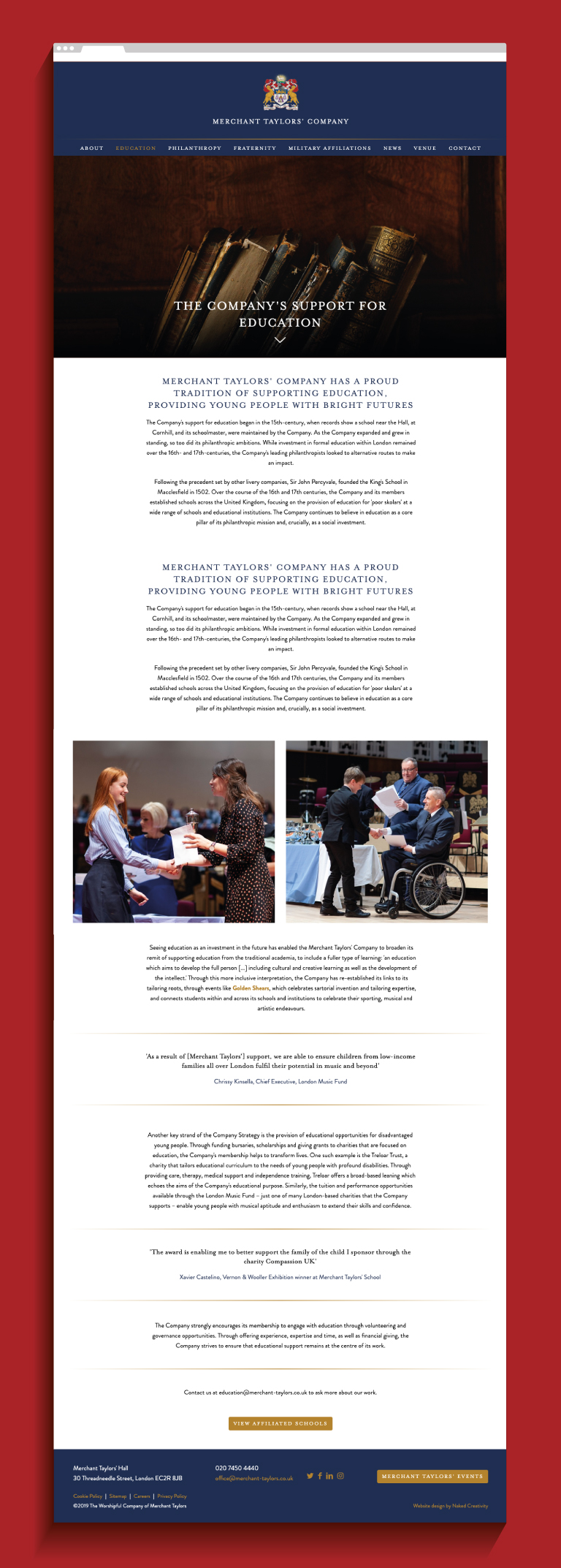 Merchant Taylors' Company Education website page  - mobile