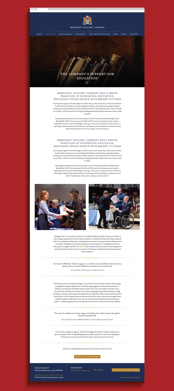 Merchant Taylors' Company Education website page  - desktop