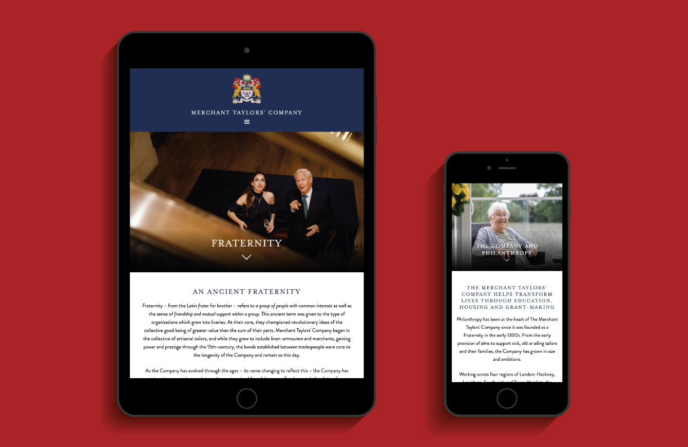Merchant Taylors' Company Fraternity webpage on an iPad and Philanthropy webpage on an iPhone - desktop