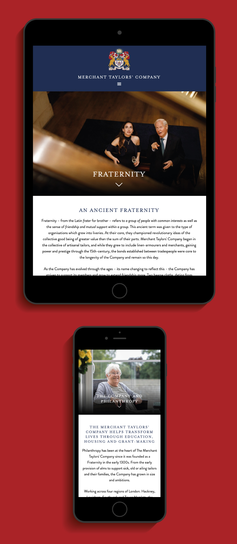 Merchant Taylors' Company Fraternity webpage on an iPad and Philanthropy webpage on an iPhone - mobile
