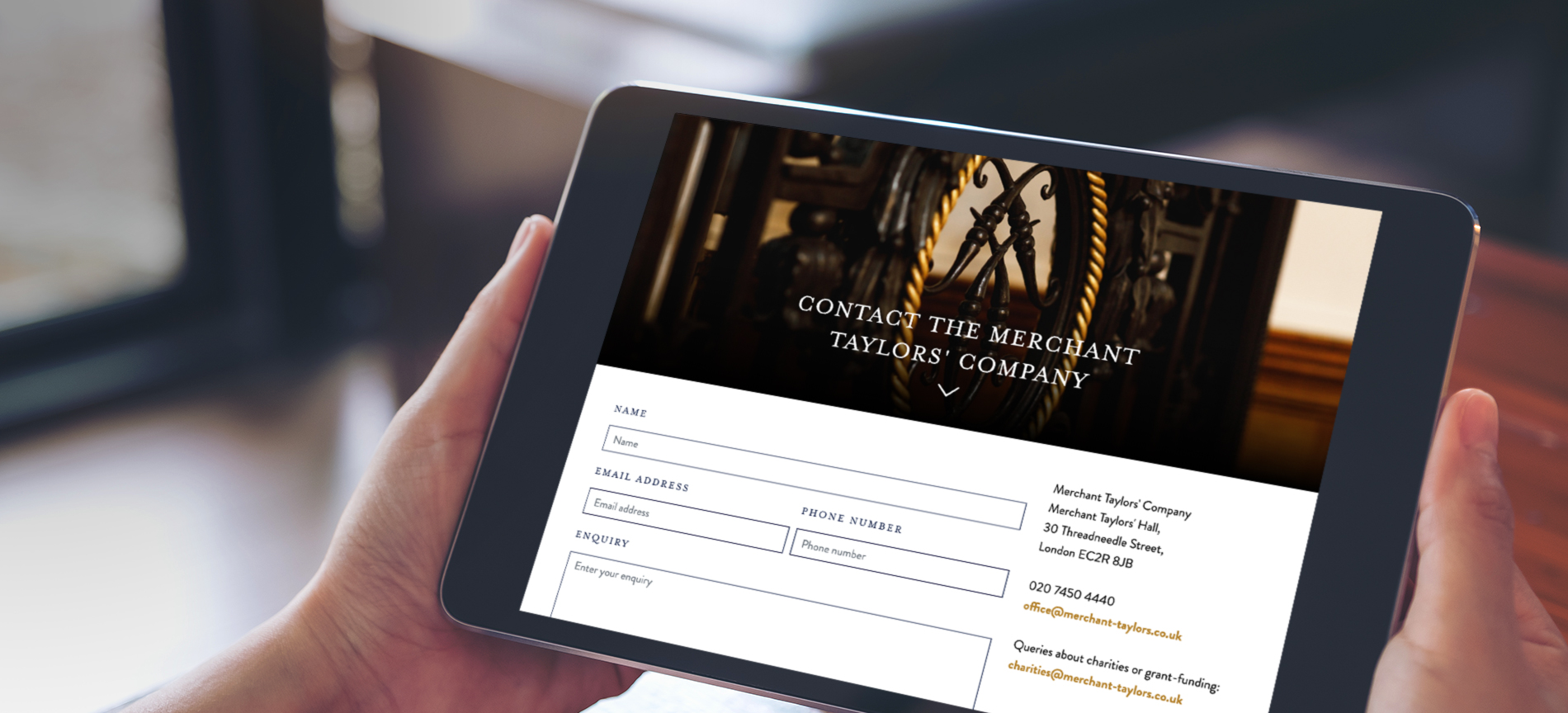 Merchant Taylors' Company Contact webpage on an iPad - desktop