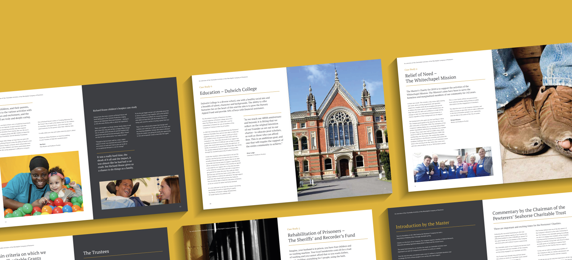 The Worshipful Company of Pewterers Case Study pages - desktop