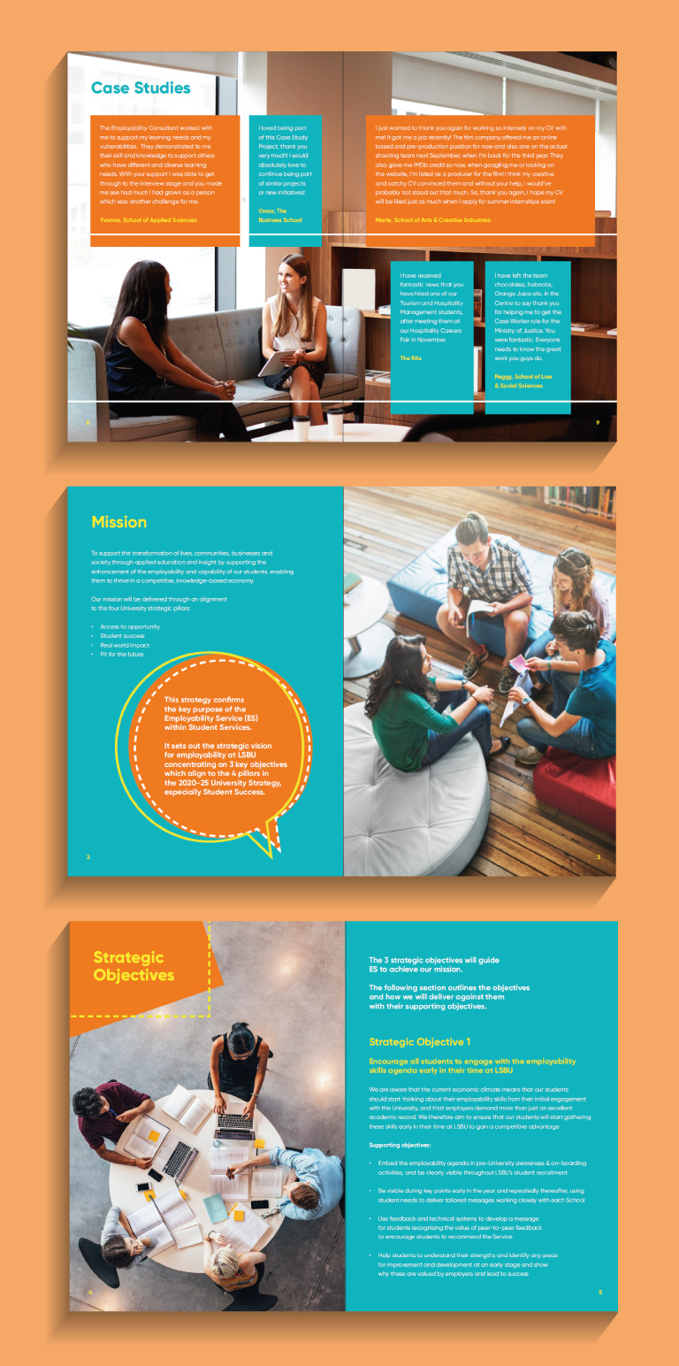 London South Bank University Case study pages - mobile