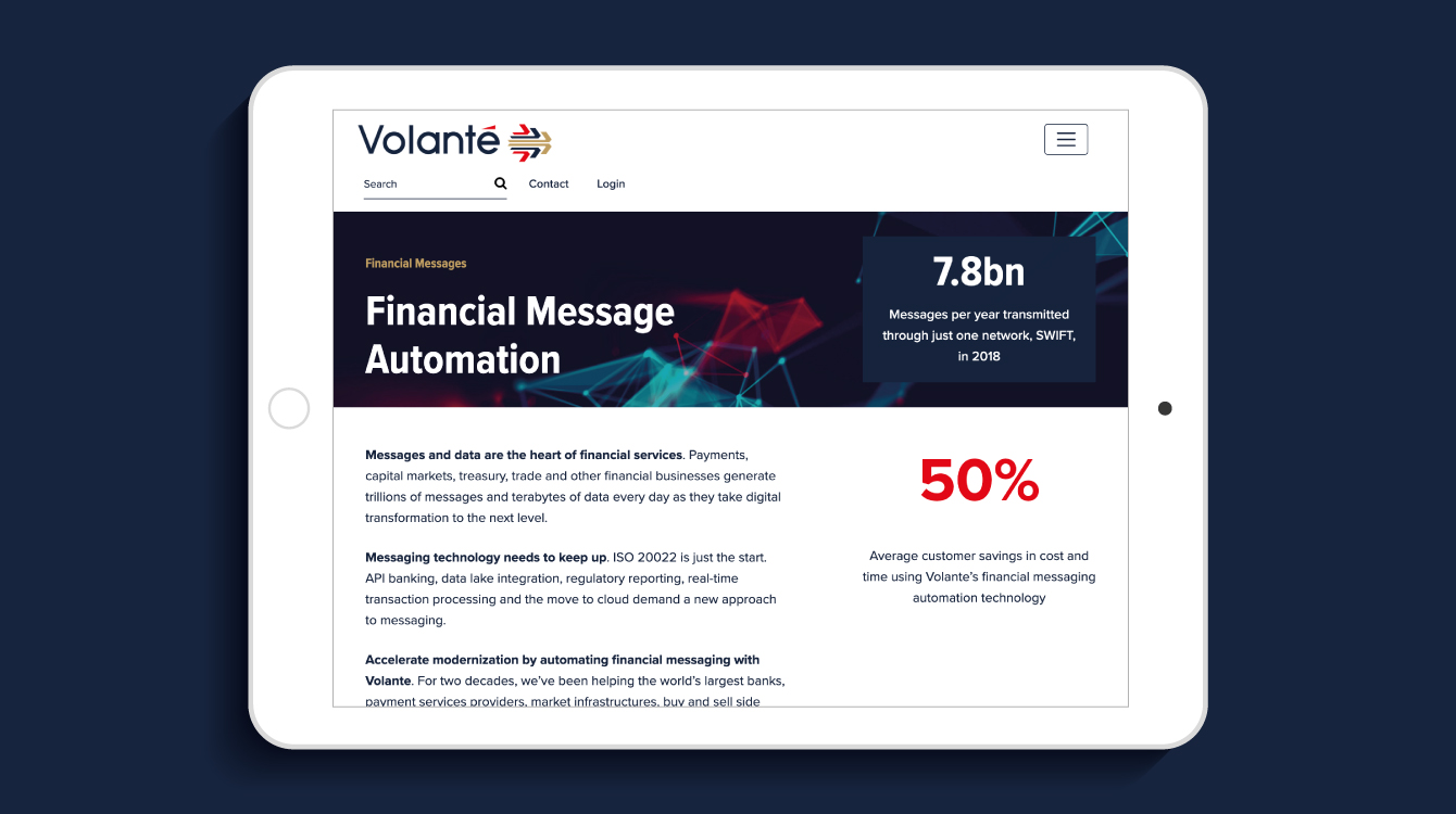 Volante website on an iPad - desktop