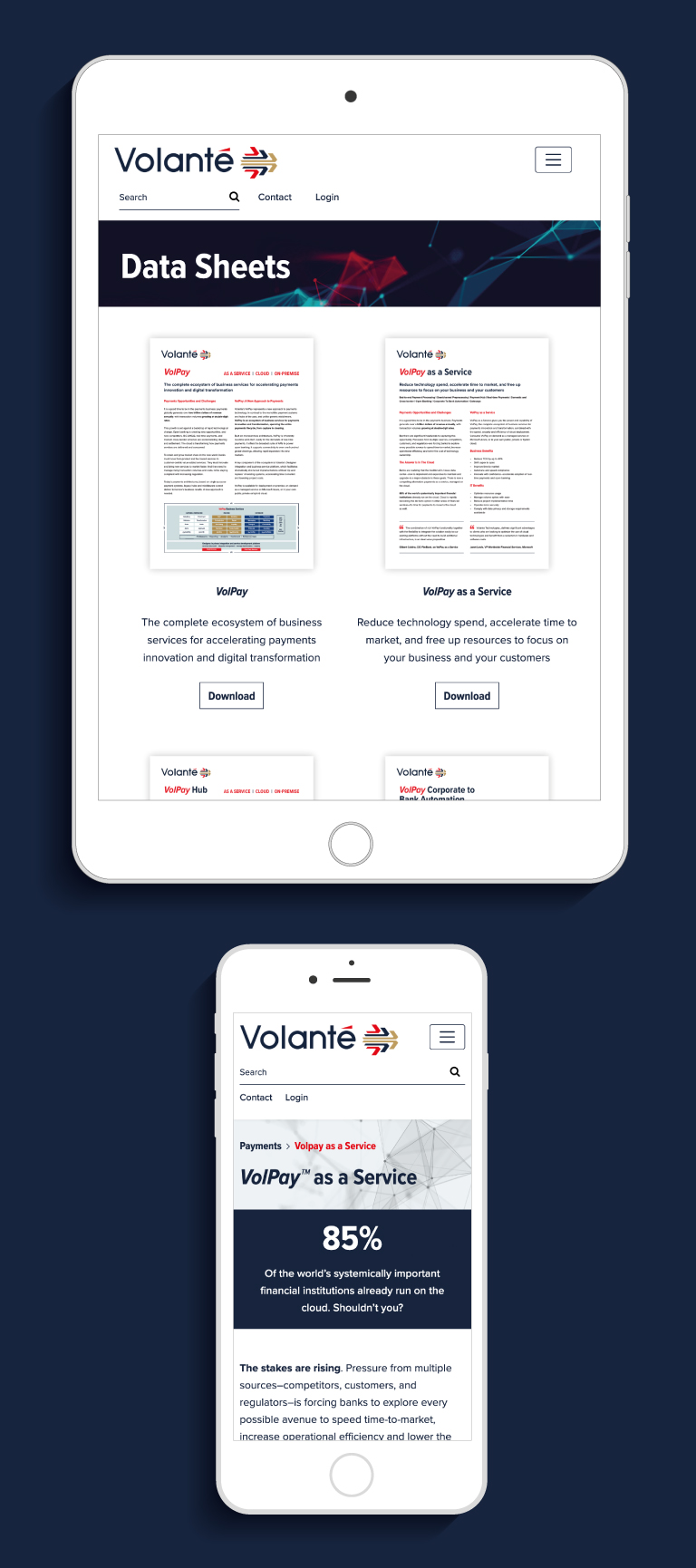 The Volante website on an iPad and iPhone - mobile