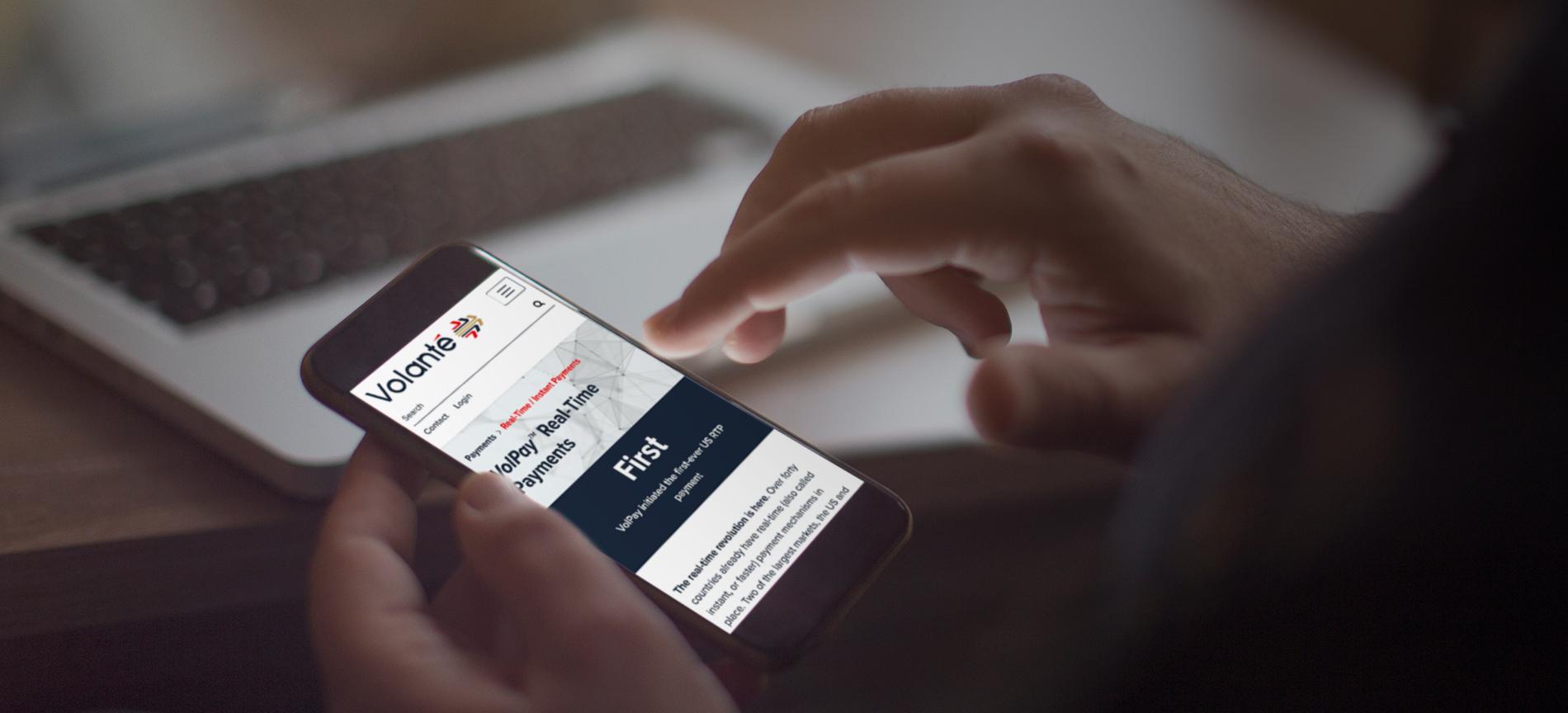 Volante website viewed on an iPhone - desktop